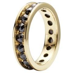 Black Rose Cut Diamond 18K Eternity Ring By Christopher Phelan