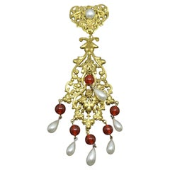 French Woloch Paris red Poured Glass byzantine filigree faux pearl drop Brooch