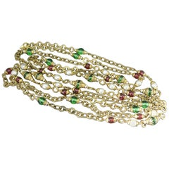 Chanel Gripoix Poured Glass red green gripoix beaded Filigree Chain Necklace