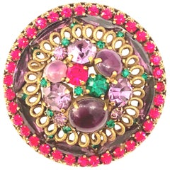 """1960'S Gold Plate Art Glass & Swarovski Crystal """"Dome"""" Brooch By, Weiss"""