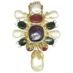 Vintage Chanel Red Green Poured Glass Gripoix baroque Pearl large Brooch
