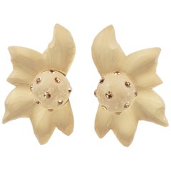Harriet Bauknight for Kaso Oversized Carved Frosted Lucite Clip on Earrings