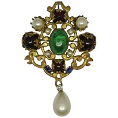 Vintage Chanel Red Green Poured Glass Gripoix Pearl drop byzantine Brooch