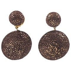 Fabrice Paris Oversized Dimensional Taupe Resin Dangling Clip on Earrings