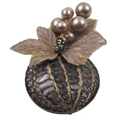 Cilea Paris Floral Gray Resin Talosel Pin Brooch with Purple Pearl Heart