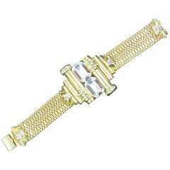 Mid-Century Glam Architectural Woven Link Crystal Bracelet, 1940s