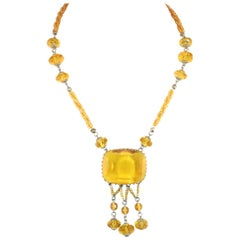 Edwardian Carved Citrine Crystal Necklace, Circa 1910