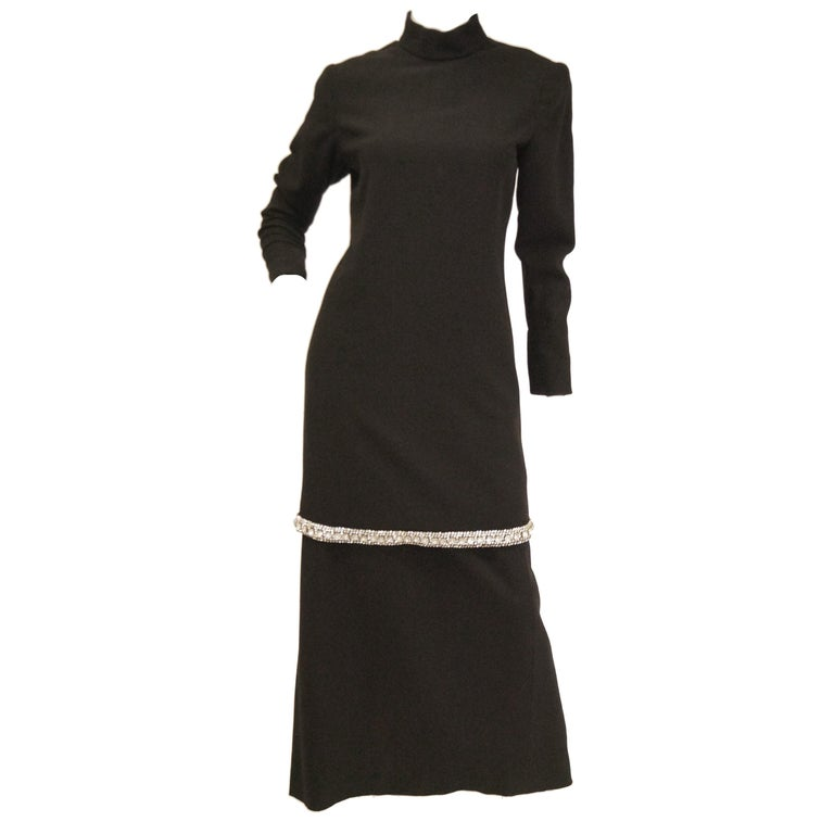1970s Black Wool Evening Dress Ensemble with Oversized Rhinestone Trim For Sale