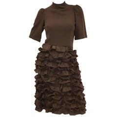 "1960s Cardinali Chocolate Brown ""Sample"" Cocktail Dress w/ Scalloped Skirt"
