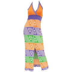 1970s Giorgio di Sant Angelo Knit Halter Maxi Dess in Orange, Purple, Green