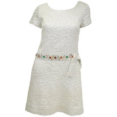 1960s B. Altman Silver Shift Cocktail Dress with Multicolor Rhinestone Belt