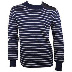 Dior Homme by Hedi Slimane Striped Sweater with Leather Buttons, AW06, Size L