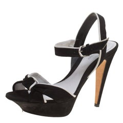 Sergio Rossi Suede and Leather Knot Detail Peep Toe Slingback Platform Sandals