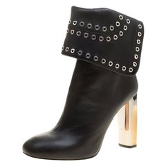 Alexander McQueen Black Leather Eyelet Cuff Ankle Boots Size 40
