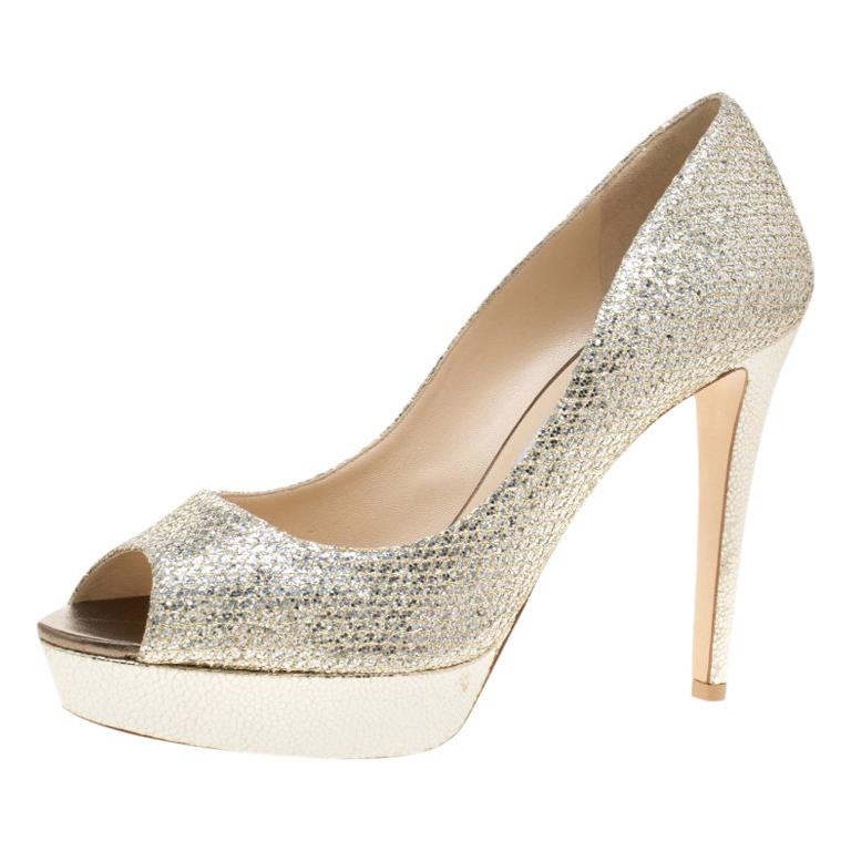 1657fd4f8f Jimmy Choo Metallic Champagne Glitter Fabric Dahlia Platform Peep Toe Pumps  For Sale