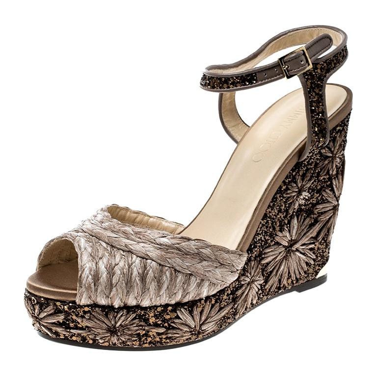 9798d4c8c772 Jimmy Choo Raffia and Embroidered Coarse Glitter Perla Peep Toe Wedge  Sandals For Sale at 1stdibs
