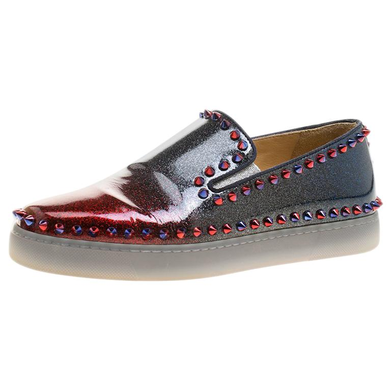 92975aae6c5d Christian Louboutin Patent Leather Spike Pik Boat Slip On Sneakers Size  37.5 For Sale