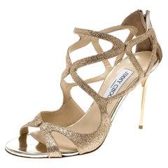 Jimmy Choo Metallic Gold Glitter Leslie Strappy Sandals Size 41
