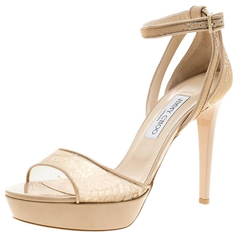 a93816090ec8 Jimmy Choo Lace and Patent Leather Kayden Ankle Strap Platform Sandals Size  40 For Sale at 1stdibs