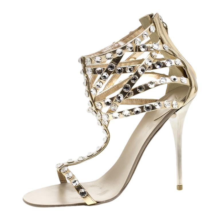 fa649dba039a Giuseppe Zanotti Dull Gold Leather Crystal Embellished T Strap Sandals Size  37 For Sale