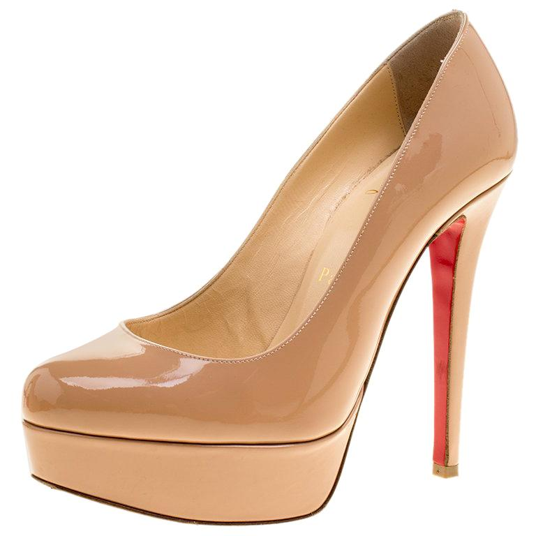 88c27f722467f Christian Louboutin Beige Patent Leather Bianca Platform Pumps Size 35.5  For Sale