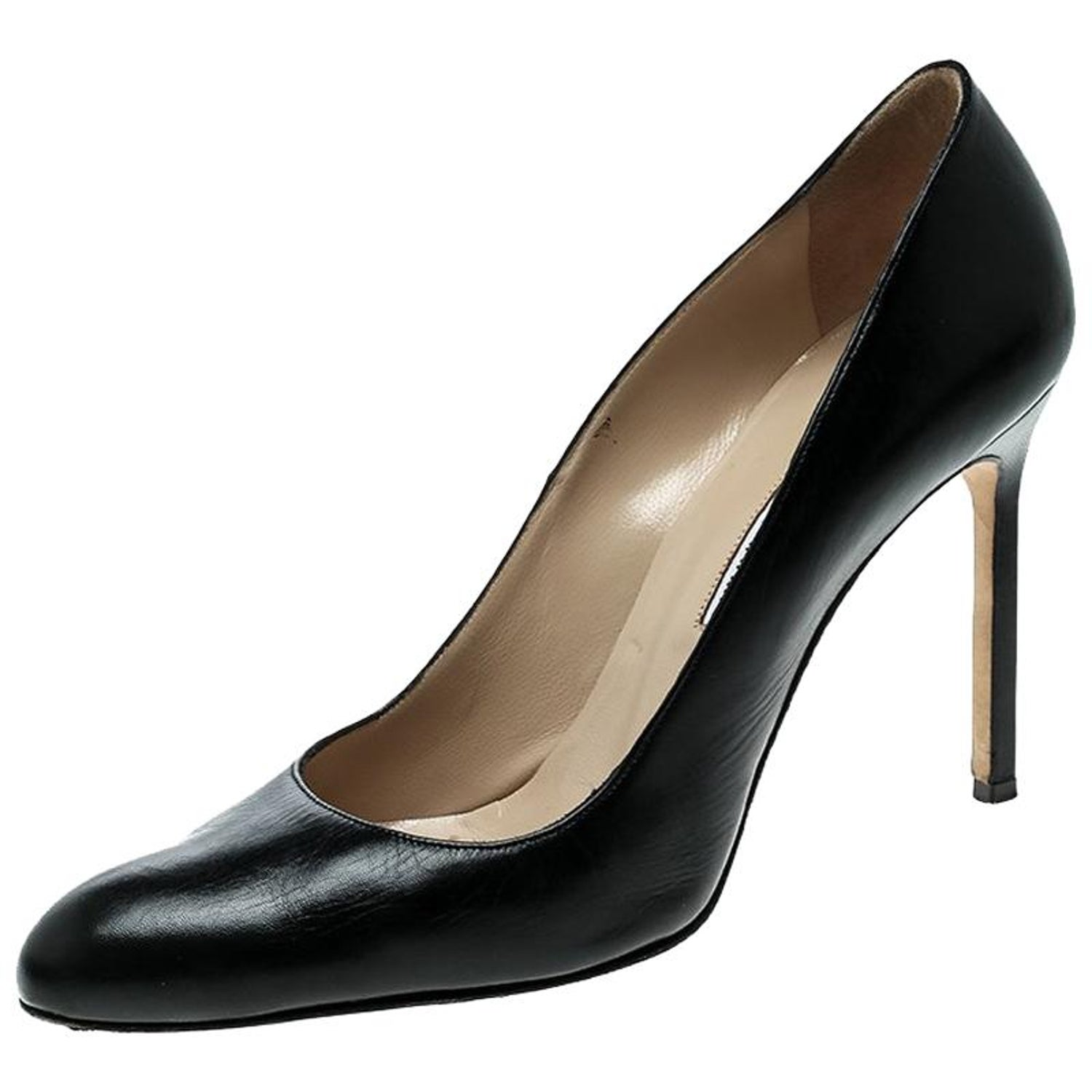 6c26262f6653 Manolo Blahnik Black Leather BB Pointed Toe Pumps Size 39.5 For Sale at  1stdibs