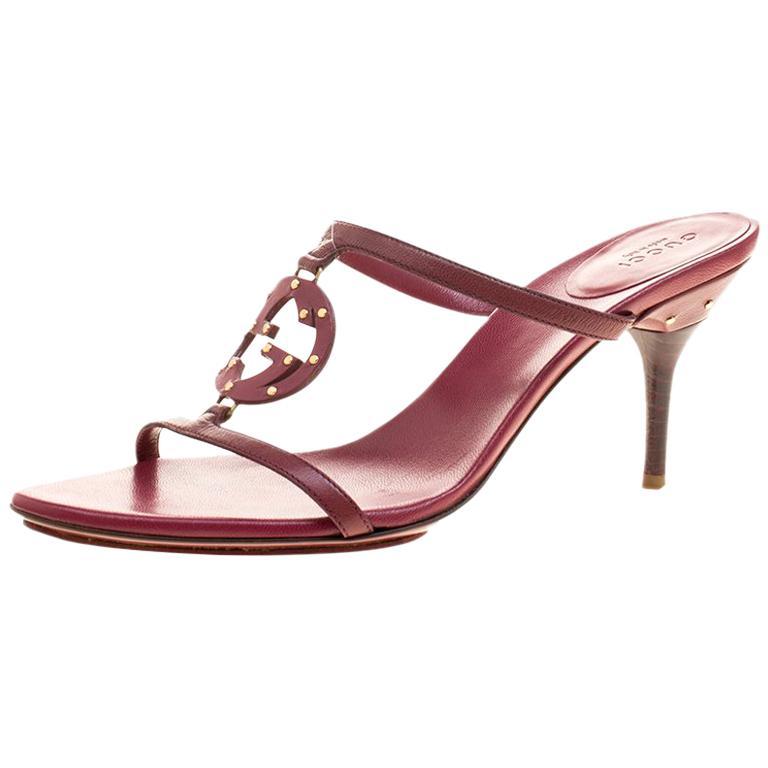 63ed7af41dc Gucci Burgundy Leather Studded GG Interlocking Slides Sandals Size 38.5 For  Sale