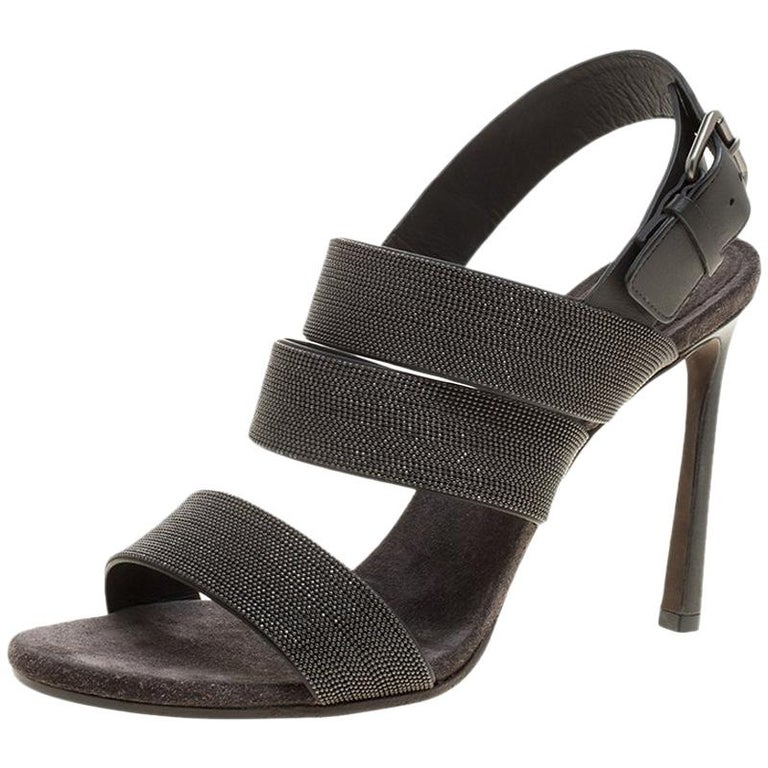 74fb5dc3fe7bd Brunello Cucinelli Grey Studded Leather Monile Strappy Sandals Size 40 For  Sale