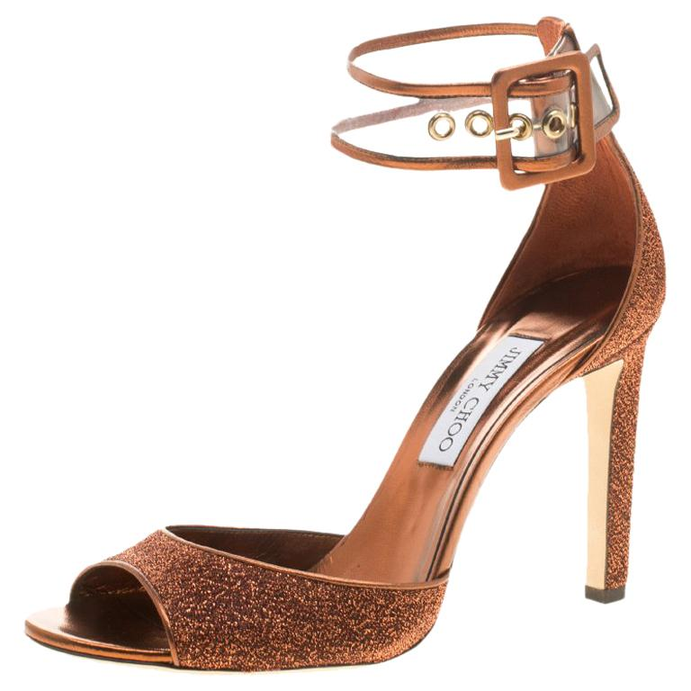287b6e9d4780 Jimmy Choo Metallic Pop Orange Lurex and PVC Moscow Ankle Strap Sandals  Size 41 For Sale