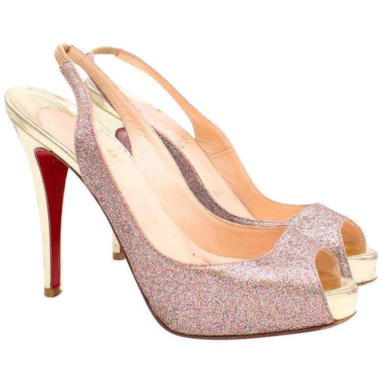 53e82c23c41 Christian Louboutin Glitter Peep Toe Pumps US 7 For Sale at 1stdibs