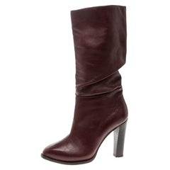 Alexander McQueen Burgundy Leather Pleat Detail Calf Length Boots Size 37.5