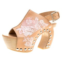 Alexander McQueen Peach Leather Embroidered Slingback Wooden Clogs Size 36