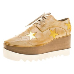 0e373d2ff750 Stella McCartney Brushed Faux Leather Elyse Star Platform Lace Up Derby  Size40.5