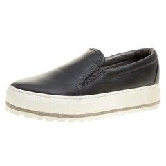 Brunello Cucinelli Black Leather Slip On Sneakers Size 37.5