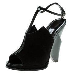 Jimmy Choo Black Suede Kascade T-Strap Wedge Sandals Size 38.5