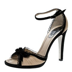Renè Caovilla Beige Pleated Fabric Bow Detail Ankle Strap Sandals Size 38.5