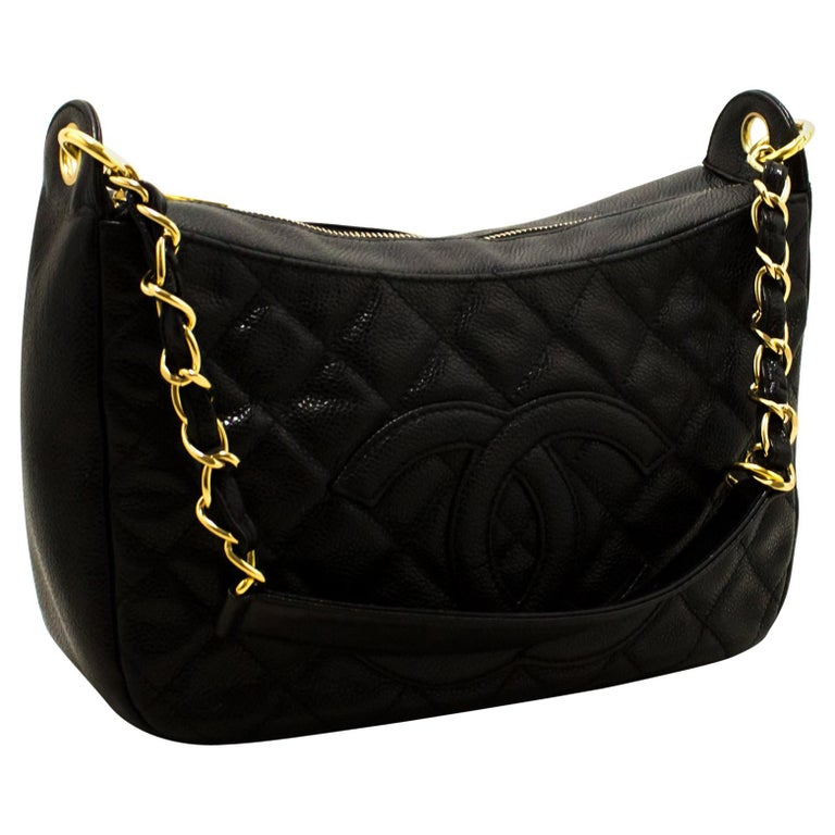 ee300f7e3f927b CHANEL Caviar Chain One Shoulder Bag Black Quilted Leather Zipper For Sale