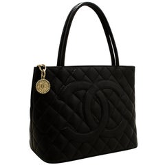 CHANEL Silver Medallion Caviar Shoulder Shopping Tote Bag Black
