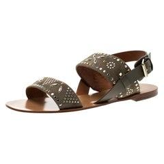 Valentino Grey Embellished Suede Flat Sandals Size 39.5