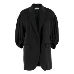 Sonia Rykiel puff-sleeved black satin blazer US 10