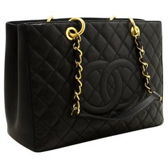 "CHANEL Caviar GST 13"" Grand Shopping Tote Chain Shoulder Bag Black"
