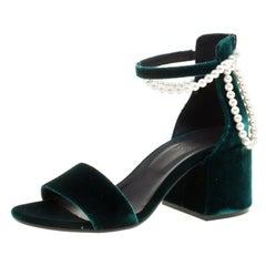 MM6 Maison Margiela Velvet Faux Pearl Embellished Ankle Strap Sandals Size 38.5