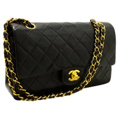 "CHANEL 2.55 Double Flap 10"" Chain Shoulder Bag Black Quilted Lamb"