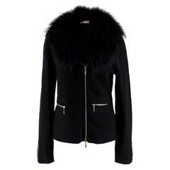 Tania Black Cashmere Cardigan with Fox Fur Collar US 10