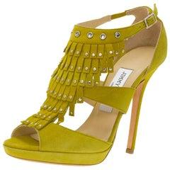 Jimmy Choo Yellow Suede Studded Fringe Platform Sandals Size 36.5