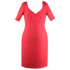 Versace Red Silk Textured Sheath Dress Short Sleeve Size 40
