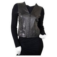 Gucci Black Leather & Fabric Shirt