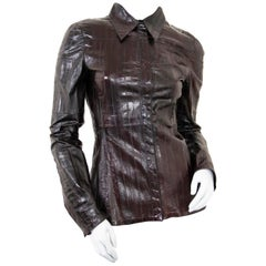 Gucci Brown Eel Leather Shirt - size IT40