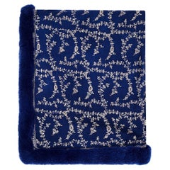 New Verheyen London Embroidered Sapphire Blue Shawl & Blue Mink Fur