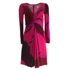 Flora Kung NWT Cherry Fuchsia Petal Print Silk Jersey Twist Front Cocktail Dress